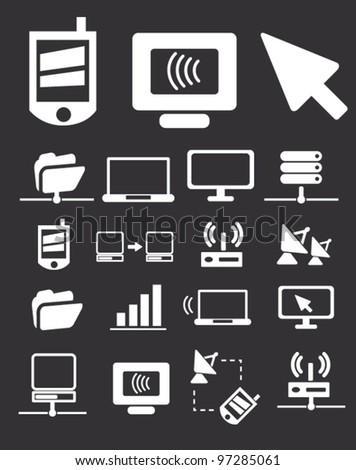 internet mobile connection icons, vector - stock vector