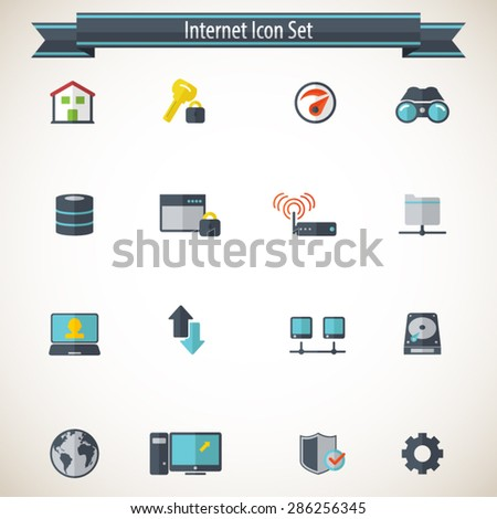 Internet network icon set - Set of 16 internet network related icons .Editable vector icons for video, mobile apps. EPS10 vector. - stock vector