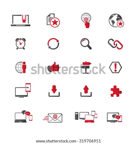 Internet network icon set - Set of 16 internet network related icons. Editable vector icons for video, mobile apps. EPS10 vector. - stock vector