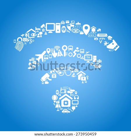 Internet of things and cloud computing concept - wifi outline by cloud computing and Internet of things concept icons - stock vector