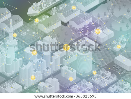 Internet of things, city and buildings, sensor network, abstract image vector illustration - stock vector