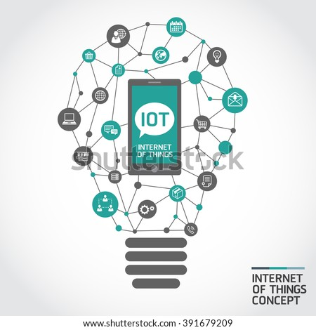 internet of things concept. idea computer network with integrated circles and icons for digital, network, internet, connect, social media, communicate. - stock vector