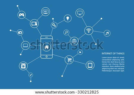 Internet of things concept with smart phone and white icons. Vector illustration. - stock vector