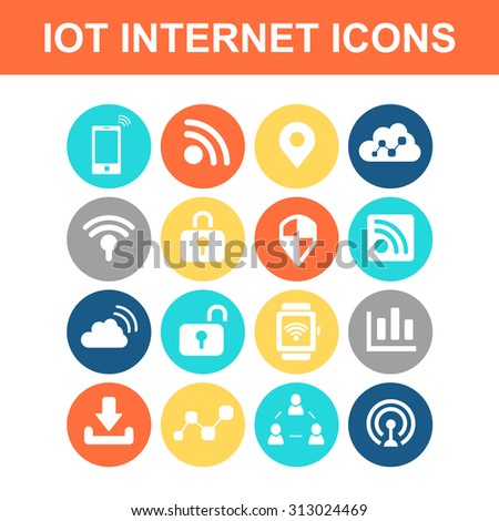 Internet of things icon set - Flat Series - stock vector