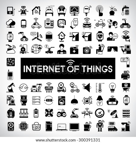 internet of things icons, vector icons set - stock vector