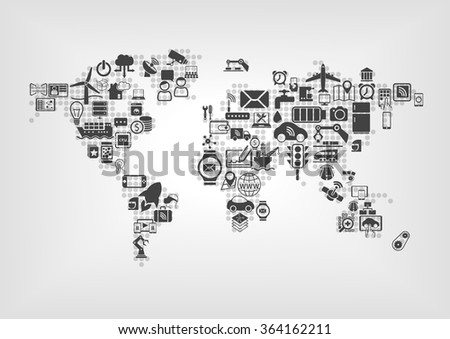 Internet of things (IOT) and global connectivity concept. World map of connected smart devices using flat design - stock vector