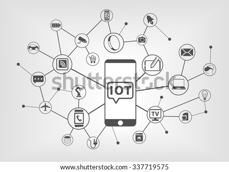 Internet of things (IOT) concept of connected devices with smart phone as central device to control smart objects - stock vector