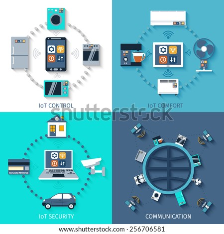 Internet of things smart home 4 flat icons composition of remote controlled comfort abstract isolated vector illustration - stock vector