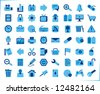 internet, office and multimedia icons - blue series - stock vector