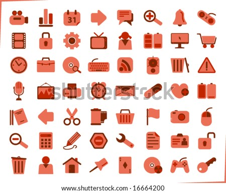 internet, office and multimedia icons - red series - stock vector