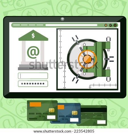 Internet online banking. Plate with site of bank where enter a password to login to profile at bank flat design style - stock vector