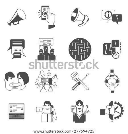 Internet online forums concept black icons set with users group message bubbles conversation abstract isolated vector illustration - stock vector