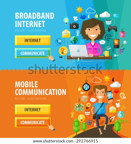 Internet, online vector logo design template. computer, pc or network, web icons - stock vector