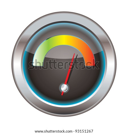 Internet or web download icon with bright dial for speed - stock vector