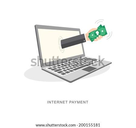 Internet payment flat illiustration. eps10 - stock vector