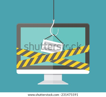Internet Phishing, hacking login and password, internet security concept. Flat design vector - stock vector
