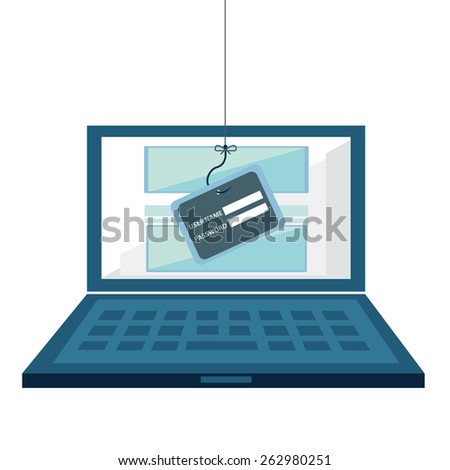 Internet Phishing, hacking login and password, internet security concept. Flat design vector. - stock vector