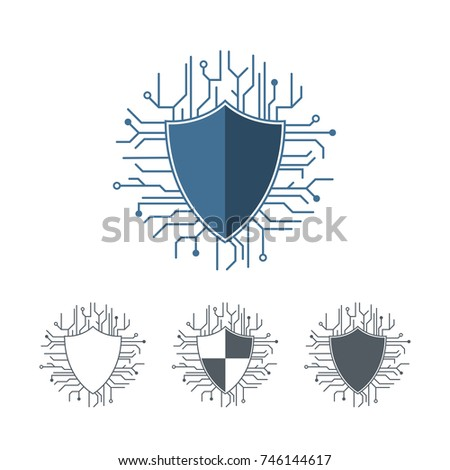 Internet protection logo template microchip lines stock vector internet protection logo template microchip lines vector illustration outline shield set monochrome logotype pronofoot35fo Image collections