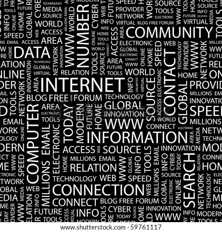 INTERNET. Seamless vector pattern with word cloud. - stock vector