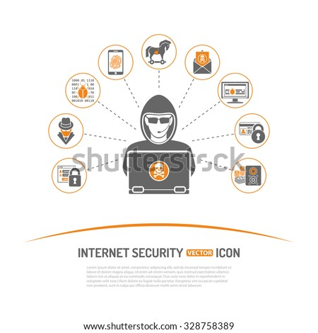 Internet Security Concept with Icon Set for Flyer, Poster, Web Site Like Hacker, Virus, Spam and Safe. - stock vector