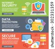 Internet security, data protection, secure data exchange, cryptography flat illustration concepts set. Creative flat design concepts for web banners, web sites, infographics. Flat vector illustrations - stock photo