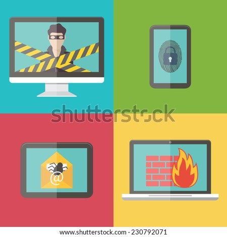 Internet security, hacker, virus protection and email spam set. Flat design vector illustration. - stock vector