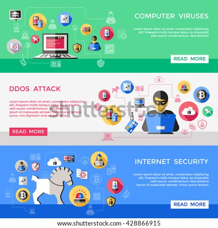 Internet security horizontal banners set with computer viruses spam attack hacker files protection isolated vector illustration  - stock vector