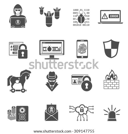 Internet Security Icon Set for Flyer, Poster, Web Site Like Hacker, Virus, Spam and Firewall. - stock vector