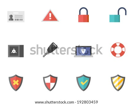 Internet security icons in flat colors style.  - stock vector