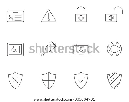 Internet security icons in thin outlines.  - stock vector