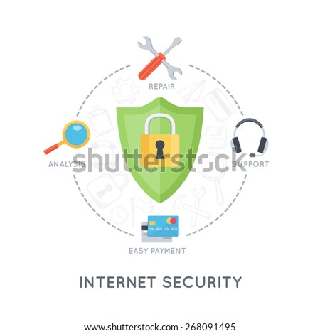 Internet security service. Modern flat design template. Infographic background. - stock vector