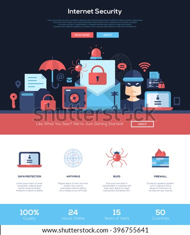 Internet security services web site one page website template layout with flat header, banner, icons and other flat design web elements - stock vector