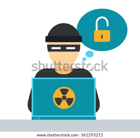 Internet security vector illustration. Internet safety, virus and spam attack. Web hackers, lost money and information. Computer virus, computer safety and security infographic - stock vector