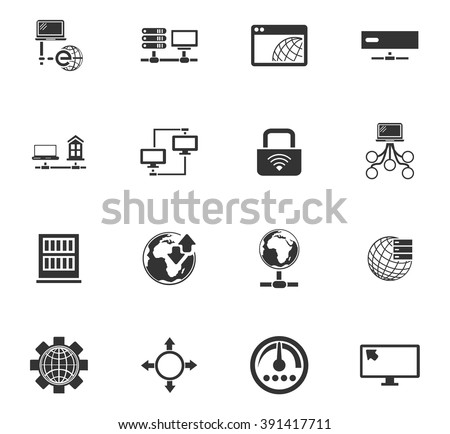 Internet, server, network icon set for web sites and user interface - stock vector