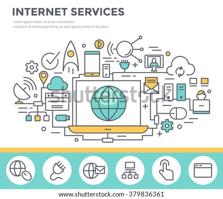 Internet service concept illustration, thin line flat design - stock vector