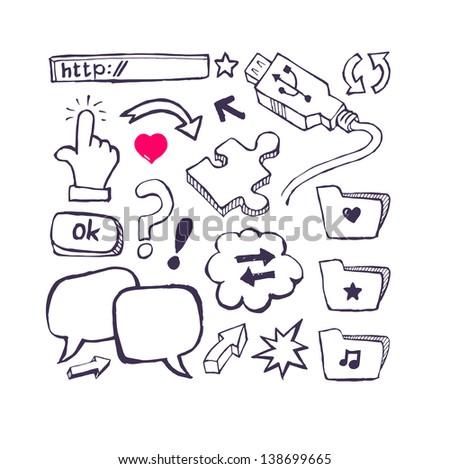 Internet set with arrows, speech. Hand draw - stock vector