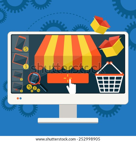 Internet shopping concept smartphone with awning of buying products via on line shop store e-commerce ideas e-commerce symbols sale elements on stylish background - stock vector
