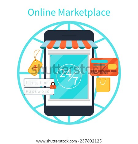 Internet shopping concept smartphone with awning of buying products via online shop store e-commerce ideas e-commerce symbols sale elements on stylish background - stock vector