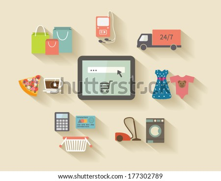 Internet shopping, e-commerce concept. Icons set with long shadows. - stock vector