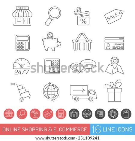 Internet Shopping Icon Set for e-commerce in Line Thin Style. Vector isolated on white - stock vector