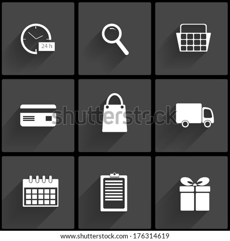 Internet shopping icons set in flat design with long shadows. Order, payment and delivery. Vector illustration. - stock vector