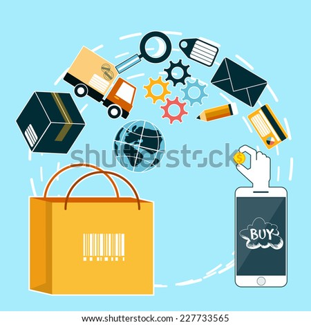 Internet shopping process of purchasing and delivery. Business online sale icons. Poster concept of buying product via online shop and e-commerce ideas symbol and shopping elements in flat design - stock vector
