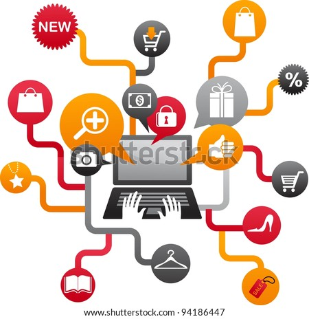Internet shopping with set of icons - stock vector