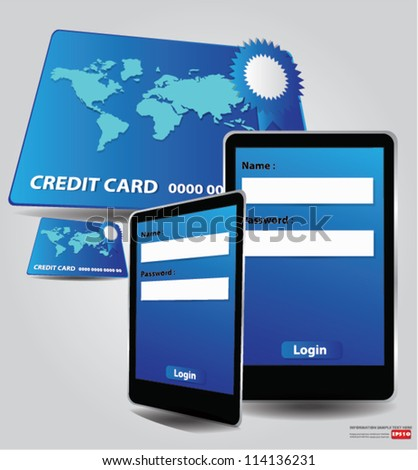 Internet shopping with smart phone and credit card,Vector