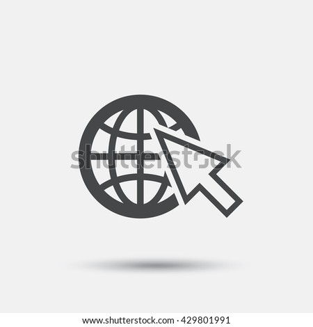 Internet sign icon. World wide web symbol. Cursor pointer. Flat internet web icon on white background. Vector - stock vector