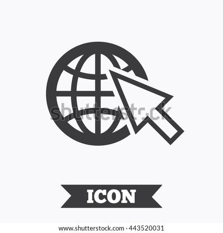 Internet sign icon. World wide web symbol. Cursor pointer. Graphic design element. Flat internet symbol on white background. Vector - stock vector
