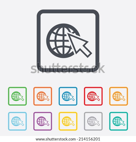 Internet sign icon. World wide web symbol. Cursor pointer. Round squares buttons with frame. Vector - stock vector