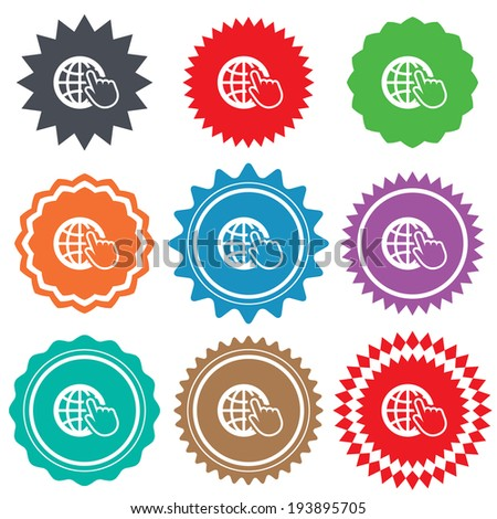Internet sign icon. World wide web symbol. Cursor pointer. Stars stickers. Certificate emblem labels. Vector - stock vector