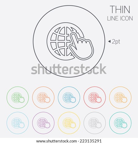 Internet sign icon. World wide web symbol. Cursor pointer. Thin line circle web icons with outline. Vector - stock vector