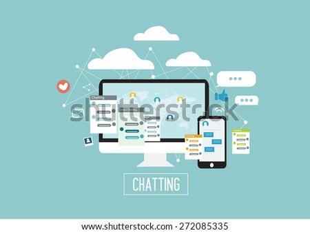 internet - social media - chatting mobile - internet of things - internet marketing - flat design vector illustration - stock vector